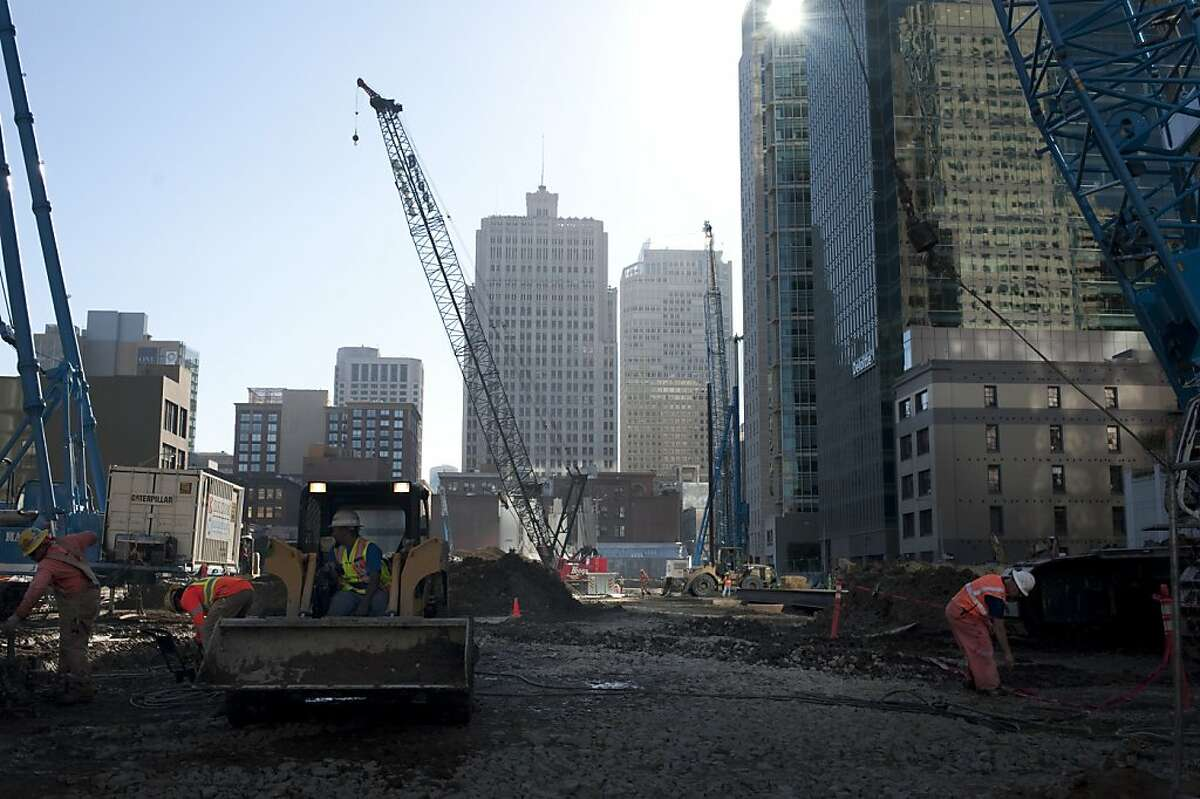 Construction for the Transbay Transit Center is a $4 billion project being erected. Here, the construction along Howard Street is replacing an old terminal on Friday, October 7, 2011 in San Francisco, Calif.