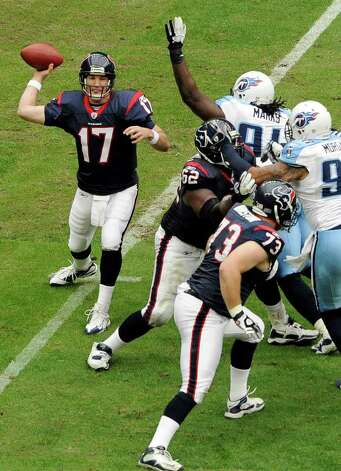 Houston Texans quarterback Jake Delhomme (17) throws a pass against the Tennessee Titans in the first quarter of an NFL football game on Sunday, Jan. 1, 2012, in Houston. Delhomme came into the game after starting quarterback  T.J. Yates left on a coaching decision. Photo: Dave Einsel, Associated Press