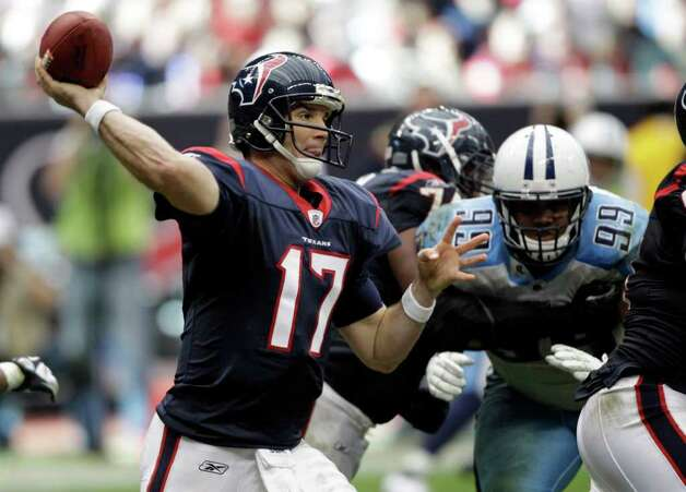 Houston Texans quarterback Jake Delhomme (17) throws a pass as Tennessee Titans defensive tackle Jurrell Casey (99) moves in during the fourth quarter of an NFL football game on Sunday, Jan. 1, 2012, in Houston. Photo: David J. Phillip, Associated Press