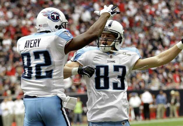 Tennessee Titans wide receiver Donnie Avery (82) and  Marc Mariani (83) celebrate Avery's touchdown catch in the second quarter against the Houston Texans in an NFL football game on Sunday, Jan. 1, 2012, in Houston. Photo: David J. Phillip, Associated Press