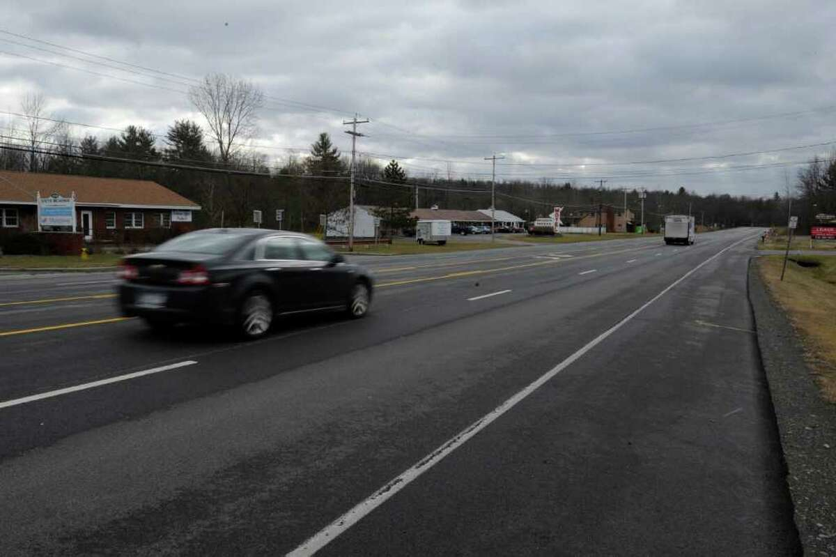 The general area of the southbound lane just north of the Design Motel on Route 9 Jan. 3, 2011, in Saratoga Springs, N.Y. where a man was hit by a vehicle and killed on Sunday night Jan. 2. (Skip Dickstein / Times Union)