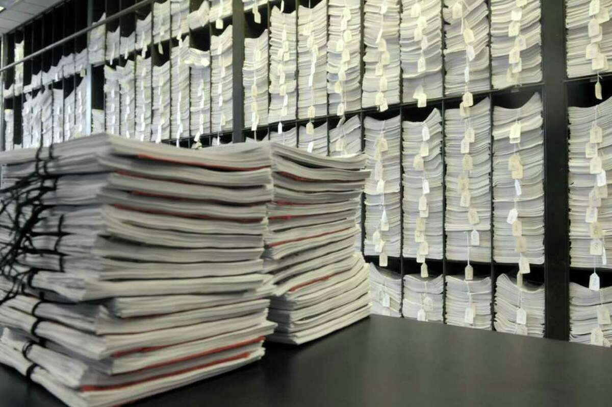 A view of some of the bills in the Assembly Document Room at the Capitol in Albany, NY. (Paul Buckowski / Times Union)