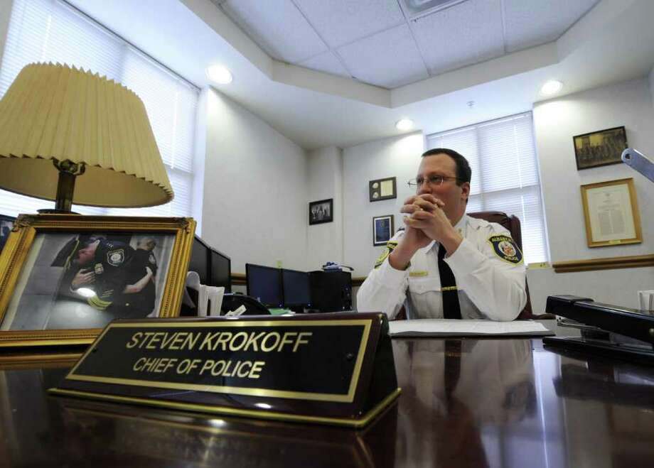 Albany Police Chief Steven Krokoff speaks with the Times Union on various subjects Jan. 2, 2102 in his office in Albany, N.Y. ( Skip Dickstein/Times Union) Photo: Skip Dickstein