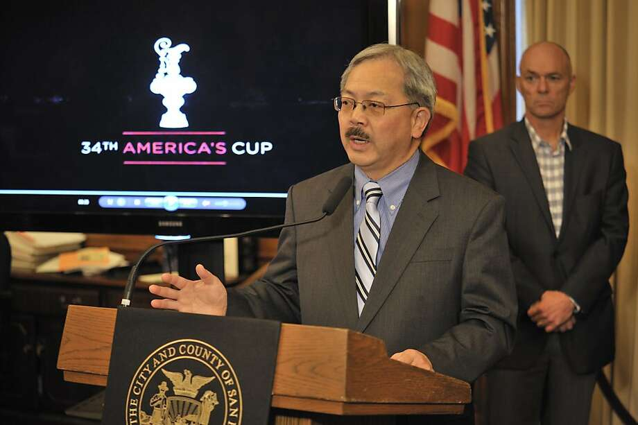 Mayor Ed Lee speaks to reporters as America's Cup Authority board member Stephen Barclay looks on at a press conference about details of plans for the city's hosting of the 34th America's Cup. As various city officials who are involved in the planning look on, the mayor announced that the environmental impact was completed and unanimously approved for the 2012 event. Photo: David Butow/Redux, Special To The Chronicle