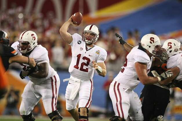 GLENDALE, AZ - JANUARY 02:  Andrew Luck #12 of the Stanford Cardinal throws a pass against the Oklahoma State Cowboys during the Tostitos Fiesta Bowl on January 2, 2012 at University of Phoenix Stadium in Glendale, Arizona.  (Photo by Donald Miralle/Getty Images) Photo: Donald Miralle, Getty Images