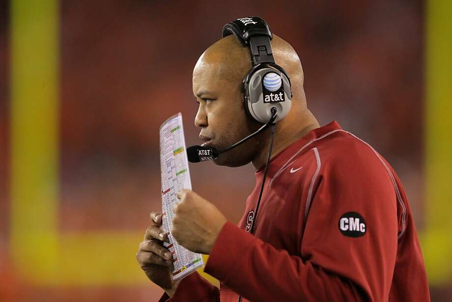 GLENDALE, AZ - JANUARY 02:  Head coach David Shaw of the Stanford Cardinal coaches against the Oklahoma State Cowboys during the Tostitos Fiesta Bowl on January 2, 2012 at University of Phoenix Stadium in Glendale, Arizona.  (Photo by Doug Pensinger/Getty Images) Photo: Doug Pensinger, Getty Images