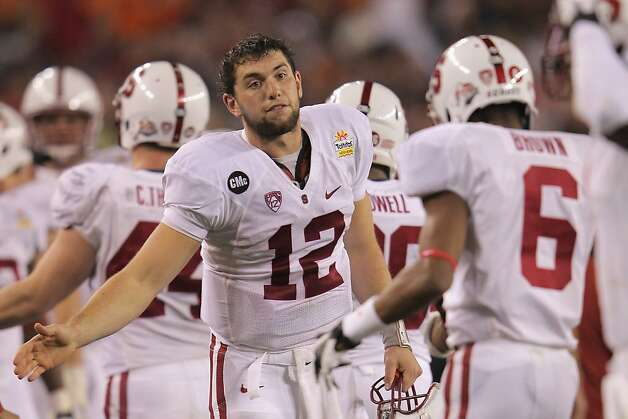 GLENDALE, AZ - JANUARY 02:  Andrew Luck #12 of the Stanford Cardinal encourages his teammates against the Oklahoma State Cowboys during the Tostitos Fiesta Bowl on January 2, 2012 at University of Phoenix Stadium in Glendale, Arizona.  (Photo by Doug Pensinger/Getty Images) Photo: Doug Pensinger, Getty Images