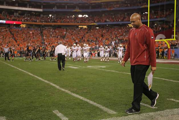 GLENDALE, AZ - JANUARY 02:  Head coach David Shaw of the Stanford Cardinal paces the sideline as Stanford called a timeout to ice kicker Quinn Sharp #13 of the Oklahoma State Cowboys before Sharp kicked the game-winning field goal during the Tostitos Fiesta Bowl on January 2, 2012 at University of Phoenix Stadium in Glendale, Arizona.  (Photo by Doug Pensinger/Getty Images) Photo: Doug Pensinger, Getty Images
