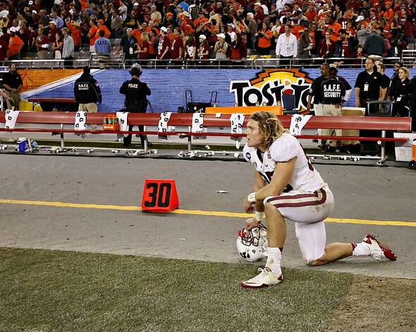 Stanford fullback Ryan Hewitt watches as time expires during overtime of the Fiesta Bowl NCAA college football game against Oklahoma State Monday, Jan. 2, 2012, in Glendale, Ariz. Oklahoma State won 41-38 in overtime. (AP Photo/Matt York) Photo: Matt York, Associated Press