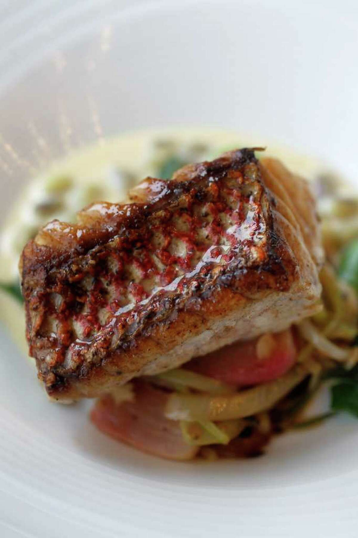 Snapper with sunchoke puree also has miso, shimeji and winter peas.