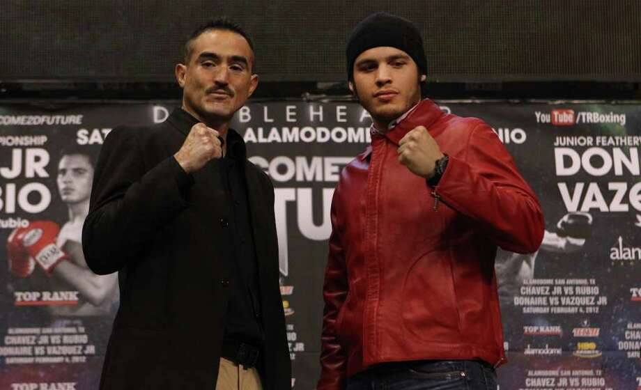 Challenger Marco Antonio Rubio (left) and champion Julio Cesar Chavez Jr. promote their Feb. 4 WBC middleweight title fight on Tuesday at the Alamodome. Neither is a stranger to San Antonio. Chavez already has two victories at the dome, and Rubio won a bout at Municipal Auditorium. Photo: JOHN DAVENPORT, SAN ANTONIO EXPRESS-NEWS