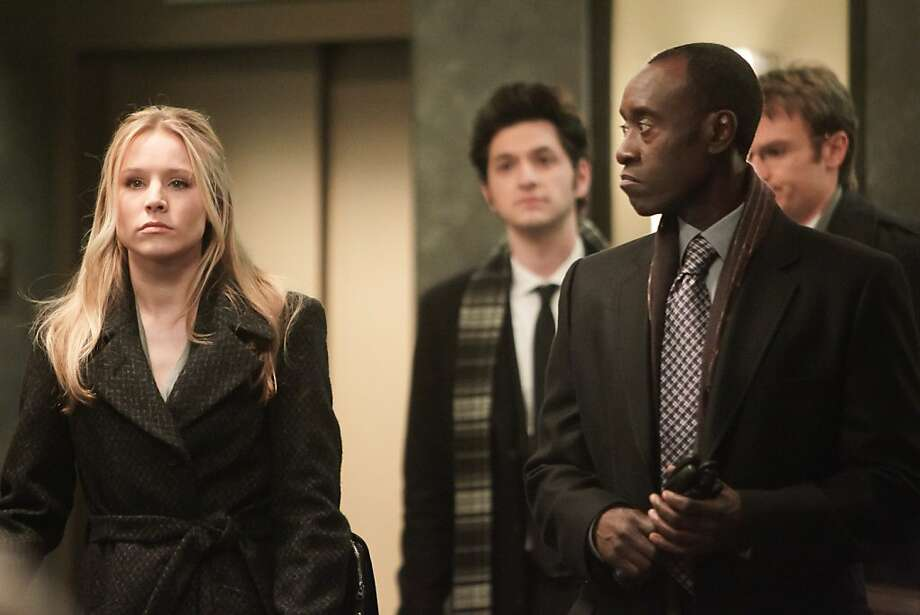 Kristen Bell as Jeannie Van Der Hooven, Ben Schwartz as Clyde Oberholt, Don Cheadle as Marty Kaan, and Josh Lawson as Doug in House of Lies Photo: Jordin Althaus, Showtime
