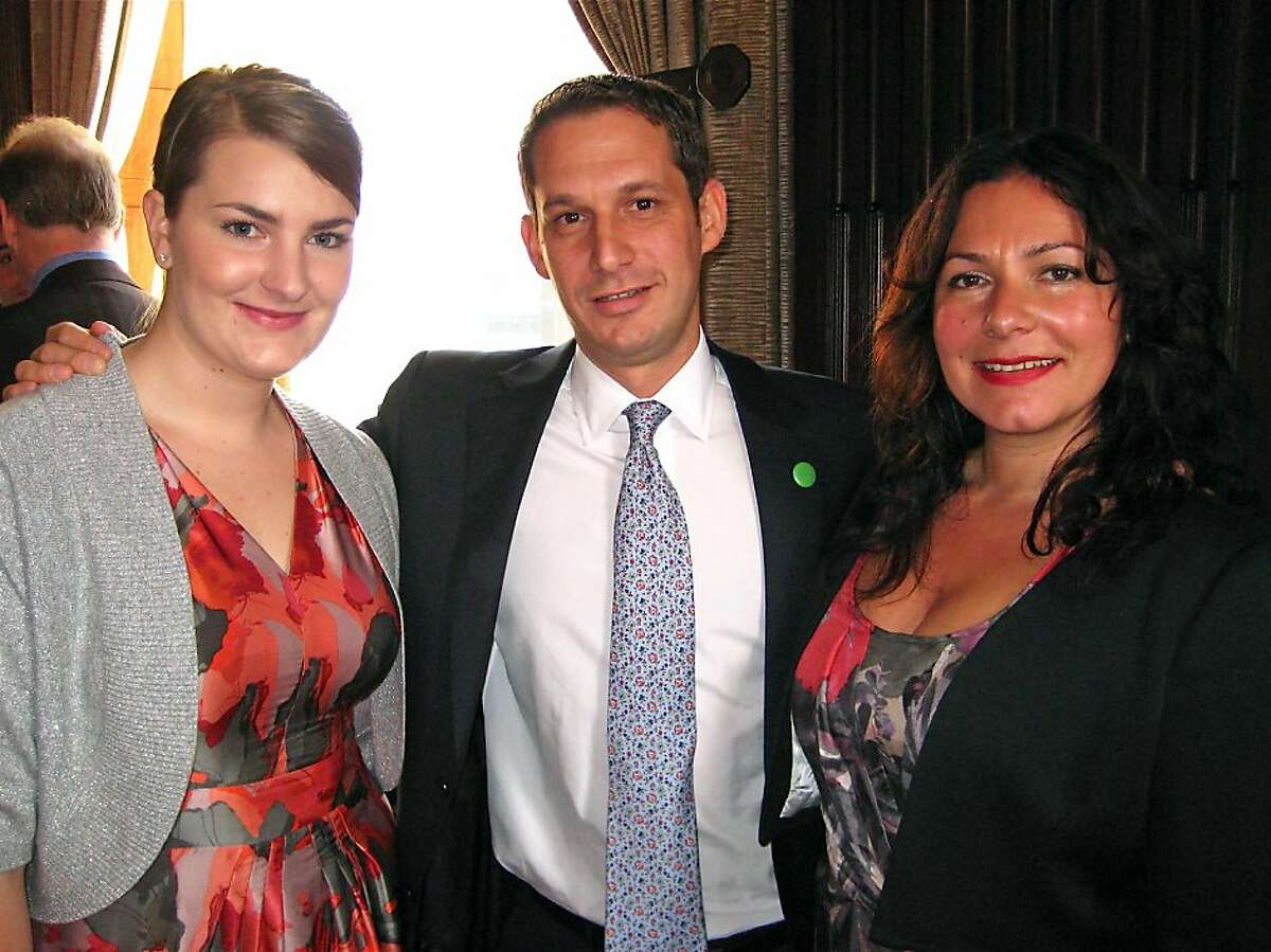 S.F. State student Jessie Peterson (left) with Tipping Point founder Daniel Lurie and honoree Zochitl Sanchez-Zarama. Dec. 2011. By Catherine Bigelow