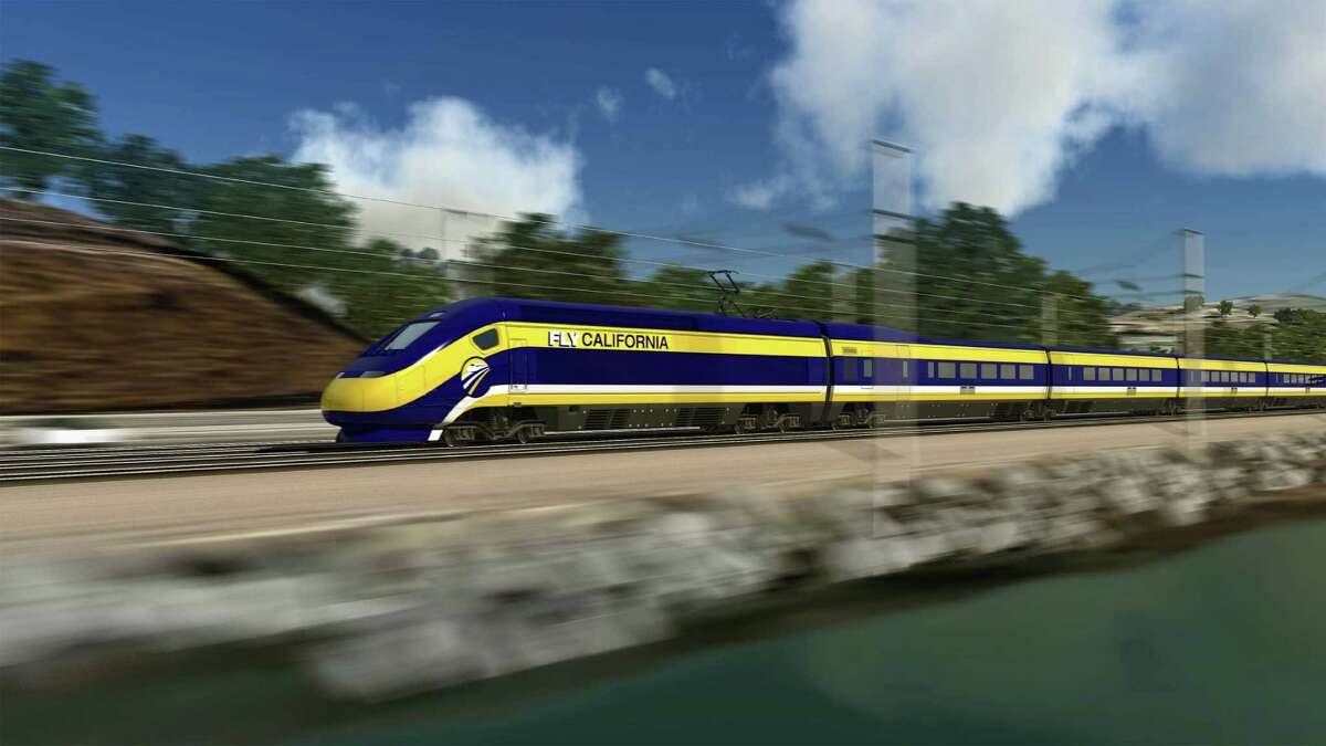 An artist's rendering shows the proposed - and controversial - high-speed train hurtling along the California coast.