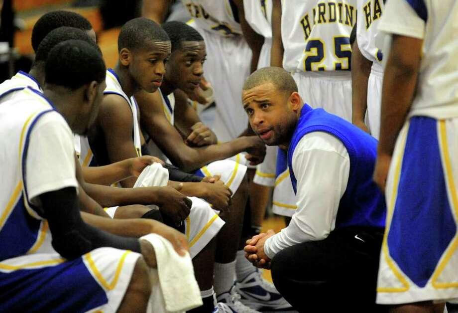 Harding Head Coach Charles Clemons, during boys basketball action against Fairfield Warde in Bridgeport, Conn. on Tuesday January 3, 2011. Photo: Christian Abraham / Connecticut Post