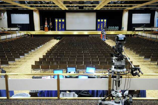 A view of the set up inside the Empire State Convention Center on Tuesday, Jan. 3, 2012 in Albany, where Governor Andrew Cuomo will deliver his state address on Wednesday.  (Paul Buckowski / Times Union) Photo: Paul Buckowski / 10015979A