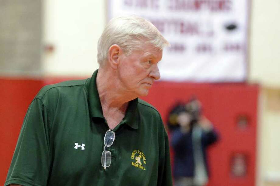 Trinity Catholic head coach Mike Walsh during the boys basketball game against Greenwich at Greenwich High School on Tuesday, Jan. 3, 2012. Photo: Amy Mortensen / Connecticut Post Freelance