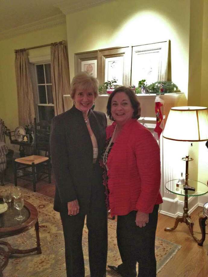 Republican Senate hopeful Linda McMahon, left, and Kathy McShane, managing director of Ladies Who Launch, at a recent event. Photo: Contributed Photo