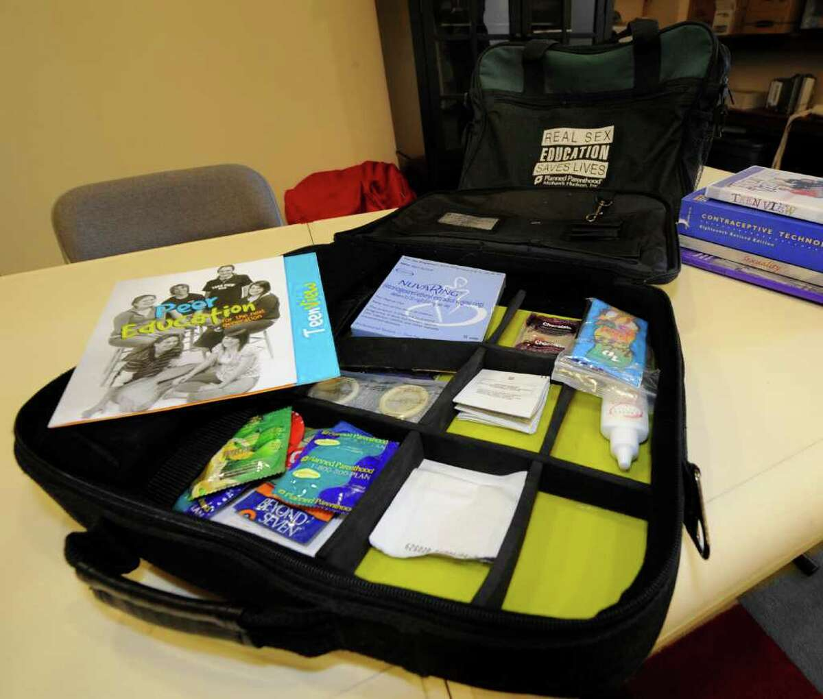 Darren Cosgrove's Educator's Kit he uses in education for Planned Parenthood Mohawk Hudson Inc. at his office in Saratoga Springs, N.Y. Jan 3, 2012. (Skip Dickstein / Times Union)