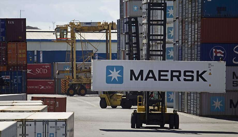 An A.P. Moeller-Maersk A/S shipping container is transported at the Ports of Auckland in Auckland, New Zealand, on Wednesday, Dec. 21, 2011. New Zealand's economy grew faster than analysts estimated last quarter on Rugby World Cup spending, a boost the central bank may look past as it awaits more lasting recovery signs before raising record-low interest rates. Photographer: Brendon O'Hagan/Bloomberg Photo: Brendon O'Hagan, Bloomberg