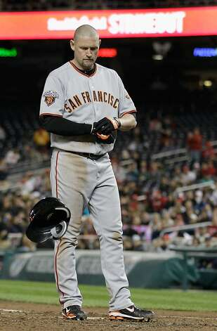 WASHINGTON, DC - APRIL 29:  Aubrey Huff #17 of the San Francisco Giants throws his helmet after striking out against the Washington Nationals to end the sixth inning at Nationals Park on April 29, 2011 in Washington, DC. Photo: Rob Carr, Getty Images