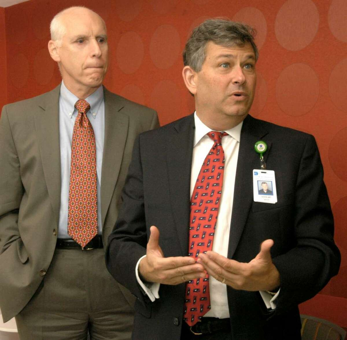 Carol Kaliff/staff photographer. Frank Kelly, left, President and CEO of Danbury Hospital and Stewart Ault, Service Line Executive for Women and Children's Services at the hospital talk about the new pediatric clinic that the hospital is opening.