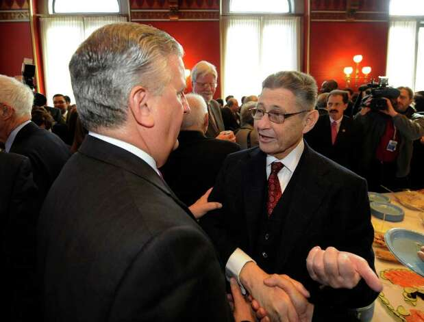 Albany Mayor Jerry Jennings, left  speaks with Assembly Speaker Shelly Silver at the Speakers Breakfast in the State Capitol on State of the State day in Albany, N.Y. Jan. 4, 2011.   (Skip Dickstein / Times Union) Photo: SKIP DICKSTEIN / 10015982A