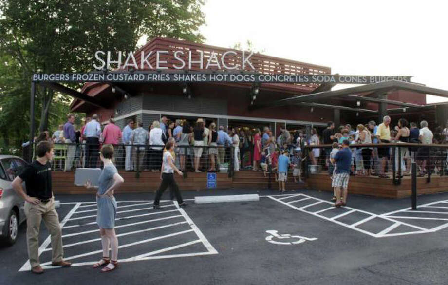 The Shake Shack opened in Westport last summer, the latest outlet in celebrity chef Danny Meyer's re-interpretation of a roadside burger stand. Photo: File Photo / Fairfield Citizen