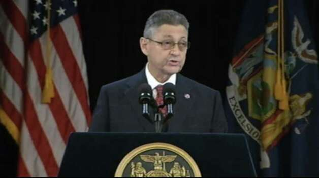 Assembly Speaker Sheldon Silver speaks prior to the State of the State address at the Empire State Plaza on Wednesday. (Governor's Office)