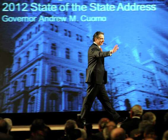 Governor Andrew Cuomo enters the Convention Center in the Empire State Plaza  in Albany, N.Y. to give The Governor's Annual State of the State message Jan. 4, 2011.   (Skip Dickstein / Times Union) Photo: SKIP DICKSTEIN / 10015982A