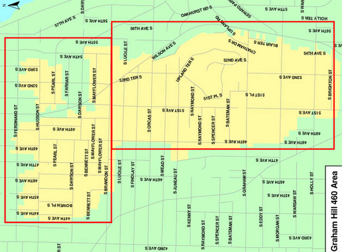 These are the affected areas in South Seattle. Map provided by Seattle Public Utilities.