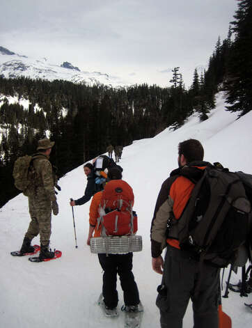 Reflection Lakes hikers meet with a U.S. Forest Service tactical team. Photo by Brian Vogt. Photo: Courtesy Photo