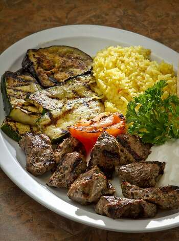 The Lamb Souvlaki dinner at the Petra Cafe in Orinda, Calif., is seen on Thursday, December 29th, 2011. Photo: John Storey, Special To The Chronicle