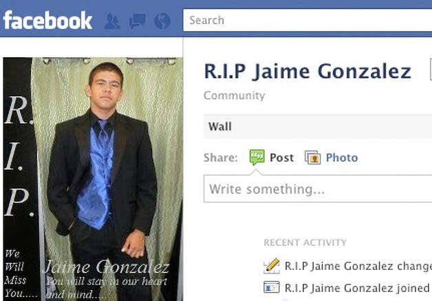 This is a screen grab of a Facebook page remembering Jaime Gonzalez, the eighth-grader shot and killed by police after police commands to lower a pistol he was holding were ignored.