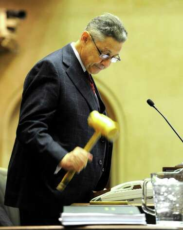Assembly Speaker Sheldon Silver gavels in the new session of the Assembly before going to the Convention Center in the Empire State Plaza  in Albany, N.Y. to hear The Governor's Annual State of the State message Jan. 4, 2011.   (Skip Dickstein / Times Union) Photo: SKIP DICKSTEIN / 10015982A