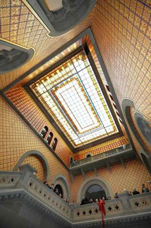 The skylight above the Assembly staircase in the State Capitol in Albany, N.Y. is now exposed to all after it's refurbishment Jan. 4, 2012.   (Skip Dickstein / Times Union) Photo: SKIP DICKSTEIN / 10015982A