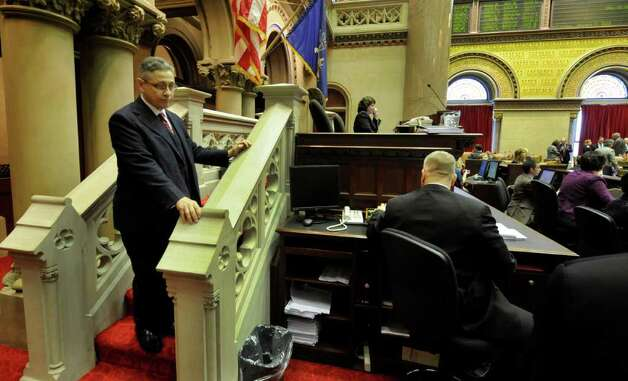 Assembly Speaker Sheldon Silver stands pensively on the steps to the podium before calling the Assembly in to session before going to the Convention Center in the Empire State Plaza  in Albany, N.Y. to hear The Governor's Annual State of the State message Jan. 4, 2011.   (Skip Dickstein / Times Union) Photo: SKIP DICKSTEIN / 10015982A