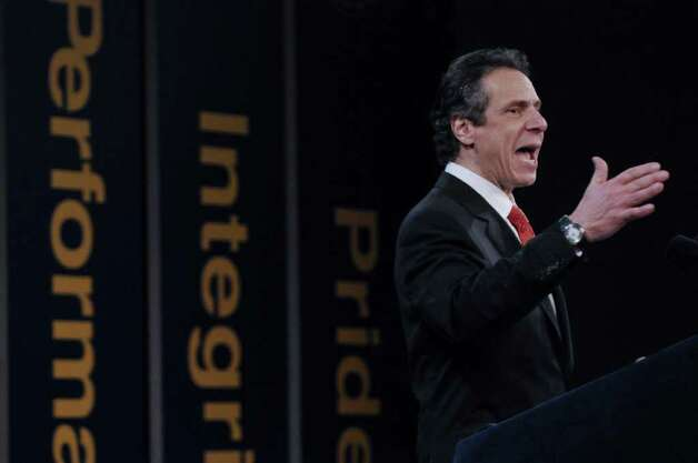 New York State Governor Andrew Cuomo delivers his second State of the State address at the Empire State Plaza Convention  Center on Wednesday Jan. 4, 2012 in Albany, N.Y (Philip Kamrass / Times Union ) Photo: Philip Kamrass / 10015982B