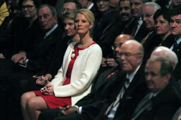 Sandra Lee, girlfriend of New York State Governor Andrew Cuomo, center, listens to introductions before Cuomo delivered his second State of the State address at the Empire State Plaza Convention  Center on Wednesday Jan. 4, 2012 in Albany, NY. (Philip Kamrass / Times Union ) Photo: Philip Kamrass / 10015982B