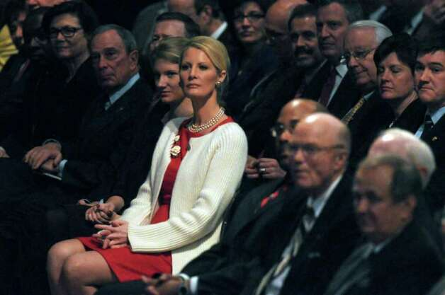 Sandra Lee, girlfriend of New York State Governor Andrew Cuomo, center, listens to introductions before Cuomo delivered his second State of the State address at the Empire State Plaza Convention  Center on Wednesday Jan. 4, 2012 in Albany, NY. New York City Mayor Michael Bloomberg sits second from left.  (Philip Kamrass / Times Union ) Photo: Philip Kamrass / 10015982B