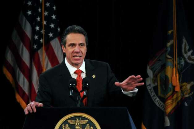 New York State Governor Andrew Cuomo delivers  his second State of the State address at the Empire State Plaza Convention  Center on Wednesday Jan. 4, 2012 in Albany, NY. (Philip Kamrass / Times Union ) Photo: Philip Kamrass / 10015982B