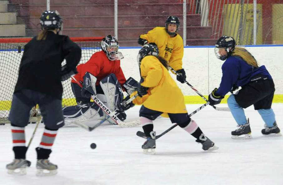 The Albany Academy for Girls ice hockey team practices at the Albany Academy field house Tuesday, Ja