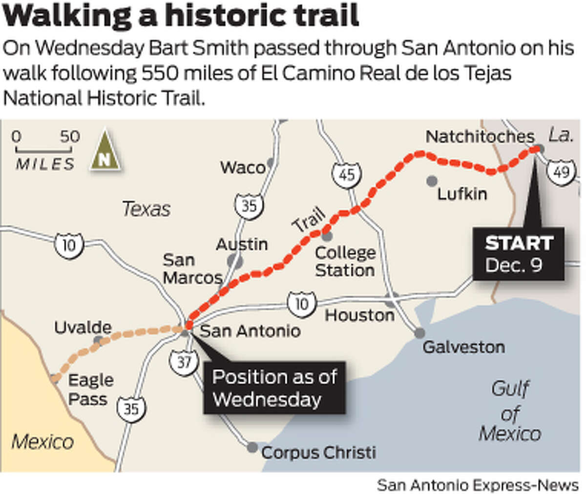 Walking a historic trail On Wednesday Bart Smith passed through San Antonio on his walk following 550 miles of El Camino Real de los Tejas National Historic Trail.