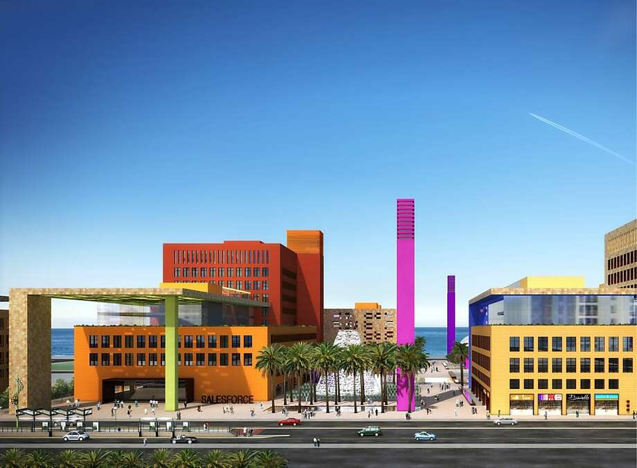 The design for the proposed Salesforce campus in Mission Bay envisions a colorful collection of compact buildings grouped around public plazas. The architect is Legorreta + Legorreta. Photo: Flad Architects