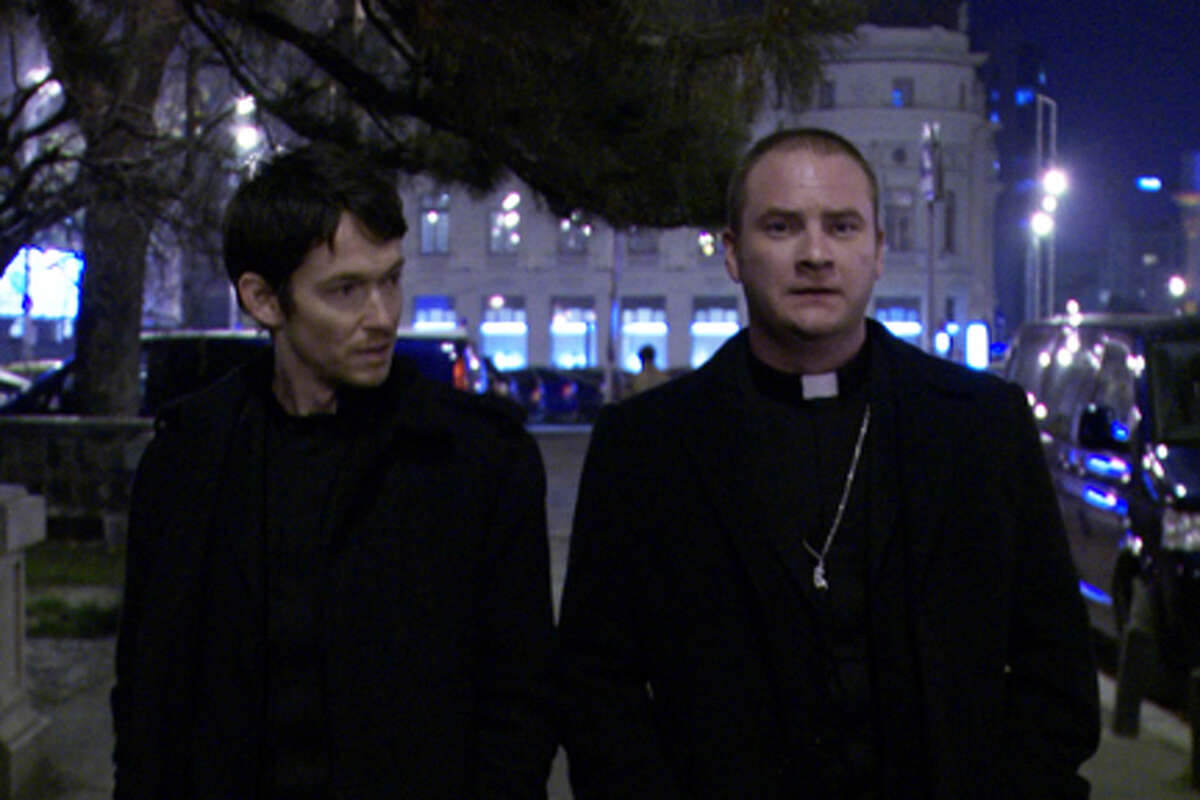 (L-R) Simon Quarterman as Fr. Ben Rawlings and Evan Helmuth as Fr. David Keane in