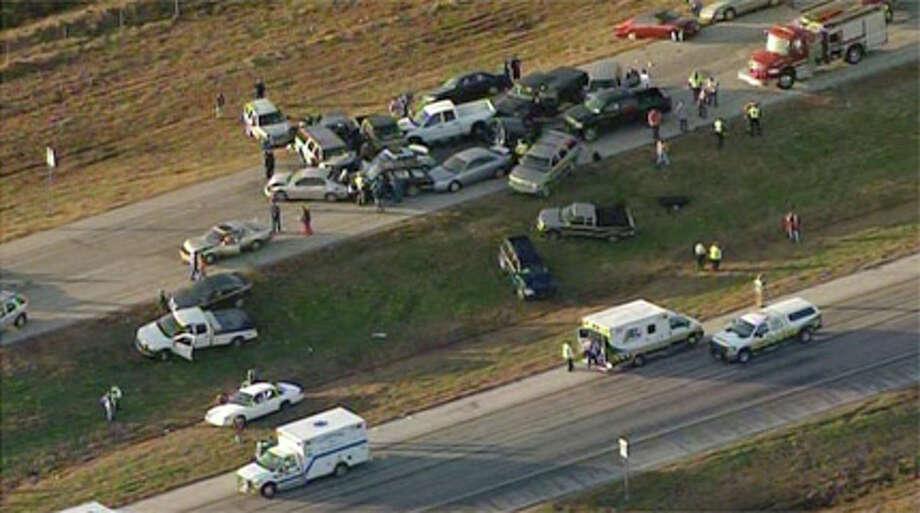 Highway 73 pileup Jan. 5, 2012.The Houston Chronicle Photo: (Courtesy KHOU)