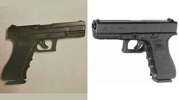 Left: A pellet gun. Right: A Glock 17. Can you tell them apart? Photo: Associated Press