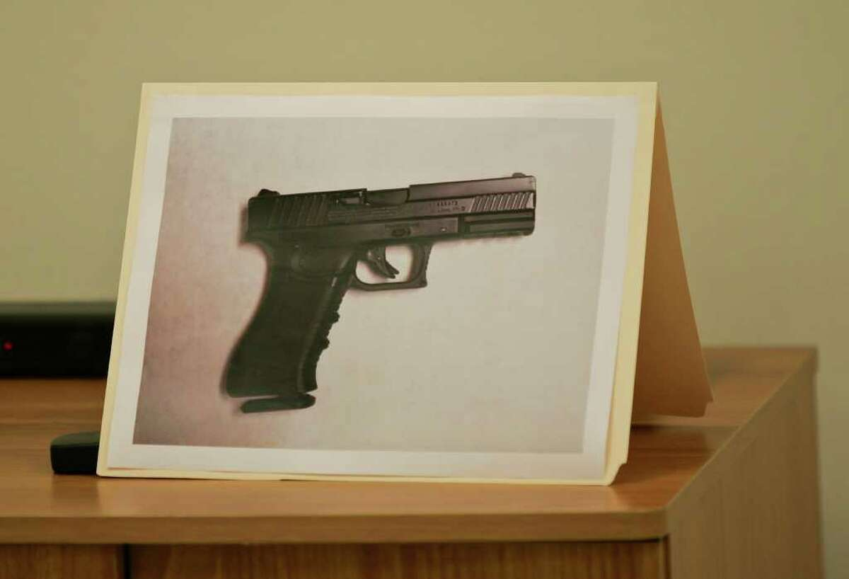 A photo of the carbon dioxide powered pellet handgun 15-year-old Jaime Gonzalez was holding at the time he was shot by police at Cummings Middle School is shown during a news conference Wednesday morning, Jan. 4, 2012 in Brownsville, Texas.