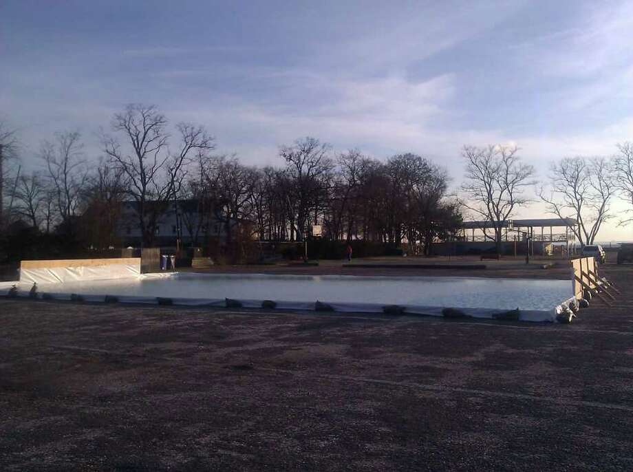 Bayley Beach now has a skating rink.The rink is a one-winter long experiment. Photo: Contributed Photo
