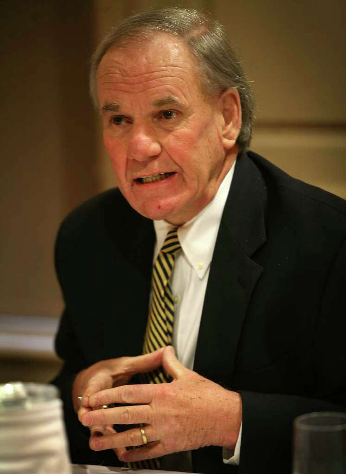 Paul Kendrick discusses Haitian sexual abuse by Douglas Perlitz during a press conference announcing civil lawsuits at the Delmar Hotel in Southport on Thursday, January 5, 2012.
